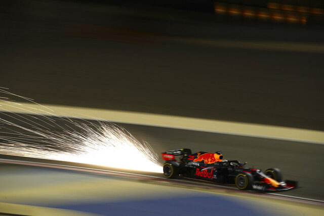 Red Bull driver Max Verstappen of the Netherlands steers his car during the second free practice at the Formula One Bahrain International Circuit in Sakhir, Bahrain, Friday, Dec. 4, 2020. The Bahrain Formula One Grand Prix will take place on Sunday. (Brynn Lennon, Pool via AP)