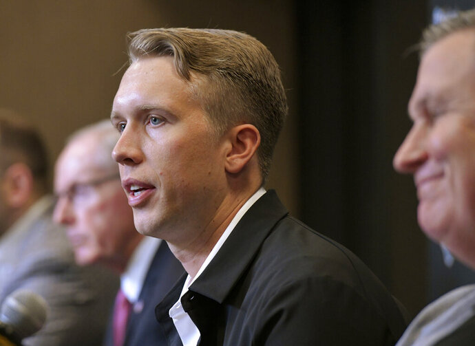 Newly signed Jacksonville Jaguars NFL football quarterback Nick Foles talks to the media in Jacksonville, Fla., Thursday, March 14, 2019.  (Will Dickey/The Florida Times-Union via AP)