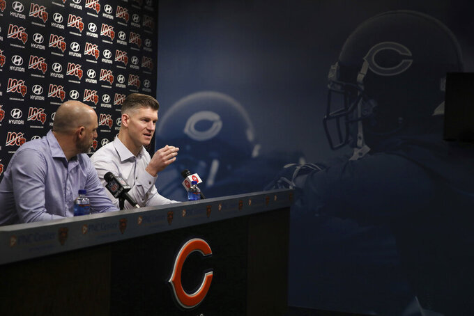 Chicago Bears head coach Matt Nagy, left, and general manager Ryan Pace speak during an NFL football press conference at Halas Hall on Tuesday, Dec. 31, 2019, in Lake Forest, Ill. (Stacey Wescott/Chicago Tribune via AP)