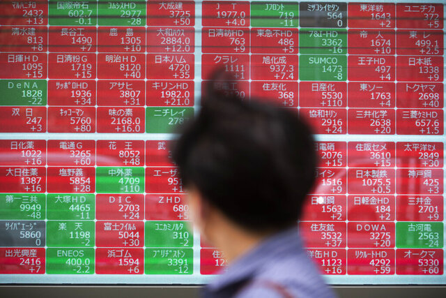 A man looks at screens showing Japan's Nikkei 225 index at a securities firm in Tokyo on Friday, Sept. 18, 2020. Stocks are mixed Wednesday, Sept. 30, in Asia as investors wait for the first debate between President Donald Trump and Democratic challenger Joe Biden. (AP Photo/Hiro Komae)