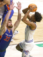 Memphis guard Jayden Hardaway shoots over Boise State forward Mladen Armus (33) during the second half of an NCAA college basketball game in the semifinals of the NIT, Thursday, March 25, 2021, in Denton, Texas. (AP Photo/Ron Jenkins)