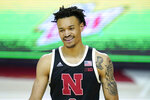 Nebraska guard Trey McGowens reacts during the second half of an NCAA college basketball game against Maryland, Tuesday, Feb. 16, 2021, in College Park, Md. Maryland won 64-50. (AP Photo/Julio Cortez)
