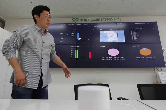 """Hwang Seungwon, director of a social enterprise established by SK Telecom to handle the service, speaks in front of an electronic dashboard during an interview in Seoul, South Korea, May 13, 2020. Hwang points a remote control toward a huge NASA-like overhead screen stretching across one of the walls. With each flick of the control, a colorful array of pie charts, graphs and maps reveals the search habits of thousands of South Korean senior citizens being monitored by voice-enabled """"smart"""" speakers, an experimental remote care service the company says is increasingly needed during the coronavirus crisis. (AP Photo/Lee Jin-man)"""