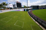 Social distance squares are seen drawn out in the lawn for fans attending spring training baseball games on Wednesday, Feb. 24, 2021, in Fort Myers, Fla. (AP Photo/Brynn Anderson)