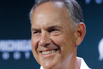 FILE - In this Aug. 5, 2019, file photo, Michigan State football coach Mark Dantonio talks with reporters during the team's NCAA college football media day, in East Lansing, Mich. Dantonio needs one more victory to tie the school record at Michigan State. The Spartans host Western Michigan this weekend. (AP Photo/Al Goldis, File)
