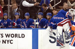 New York Rangers goaltender Henrik Lundqvist comes off the bench to enter the game in the second period of an NHL hockey game against the New York Islanders, Saturday, Jan. 13, 2018, at Madison Square Garden in New York. (AP Photo/Mary Altaffer)