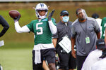 FILE - In this Sunday, Aug. 16, 2020, file photo, Carolina Panthers quarterback Teddy Bridgewater (5) throws a pass during NFL football training camp in Charlotte, N.C. With stalwarts like Cam Newton, Greg Olsen, Luke Kuechly and Trai Turner all leaving Carolina, the Panthers are the only team with less than half of snaps last season returning, At least new quarterback Teddy Bridgewater has some familiarity with offensive coordinator Joe Brady's system, having spent the 2018 season together in New Orleans. (AP Photo/Nell Redmond, File)