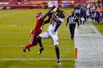 Denver Broncos wide receiver Tim Patrick (81) catches a 10-yard touchdown pass as Kansas City Chiefs cornerback Bashaud Breeland (21) defends in the second half of an NFL football game in Kansas City, Mo., Sunday, Dec. 6, 2020. (AP Photo/Jeff Roberson)
