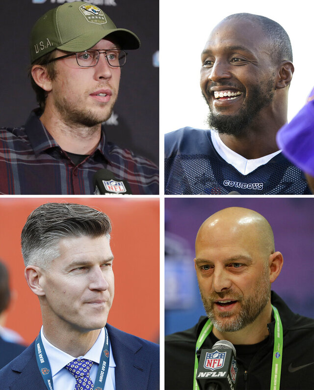 FILE - These are 2019 file photos showing, clockwise from top left, then-Jacksonville Jaguars' Nick Foles, then-Dallas Cowboys Robert Quinn, Chicago Bears head coach Matt Nagy and Bears general manager Ryan Pace. General manager Ryan Pace and coach Matt Nagy address an active offseason for the Chicago Bears, who are trying to bounce back after missing the playoffs in a season that began with Super Bowl hopes. Two of the most notable additions are pass rusher Robert Quinn and quarterback Nick Foles. (AP Photo/File)