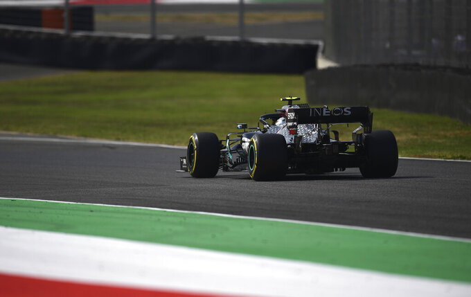 Mercedes driver Valtteri Bottas of Finland steers his car during the second practice session ahead of the Grand Prix of Tuscany, at the Mugello circuit in Scarperia, Italy, Friday, Sept. 11, 2020. The Formula One Grand Prix of Tuscany will take place on Sunday. (Miguel Medina, Pool Photo via AP)