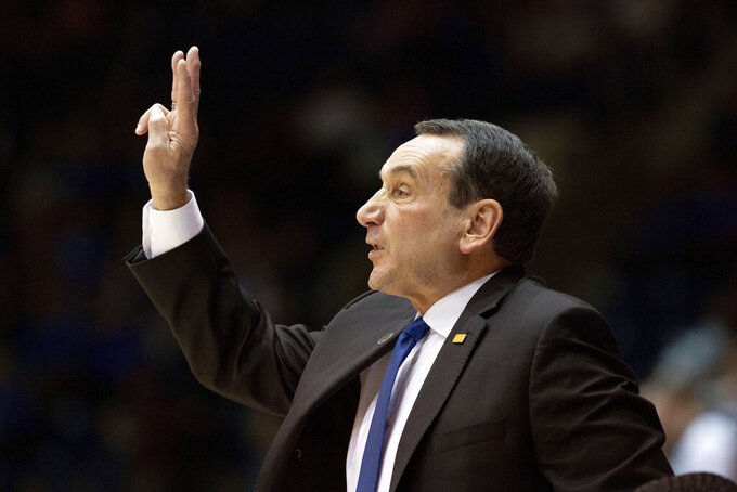 Duke head coach Mike Krzyzewski calls a play for his team during an NCAA college basketball exhibition game against Northwest Missouri State in Durham, N.C., Saturday, Oct. 26, 2019. (AP Photo/Ben McKeown)