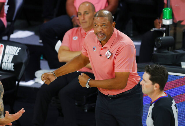 Los Angeles Clippers coach Doc Rivers argues a call during the team's NBA basketball game against the New Orleans Pelicans on Saturday, Aug. 1, 2020, in Lake Buena Vista, Fla. (Kevin C. Cox/Pool Photo via AP)