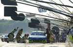 Austin Dillon makes a pit stop during the NASCAR Cup Series auto race at Pocono Raceway, Sunday, June 28, 2020, in Long Pond, Pa. (AP Photo/Matt Slocum)