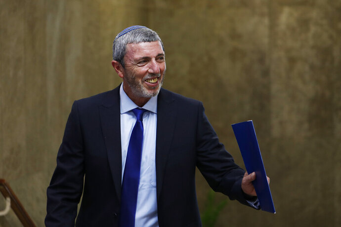 Israel's Education Minister Rafi Peretz arrives to attend the weekly cabinet meeting in Jerusalem, Sunday, July 14, 2019. (Ronen Zvulun/Pool Photo via AP)