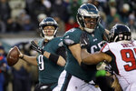 Philadelphia Eagles' Nick Foles in action during the first half of an NFL divisional playoff football game against the Atlanta Falcons, Saturday, Jan. 13, 2018, in Philadelphia. (AP Photo/Matt Rourke)