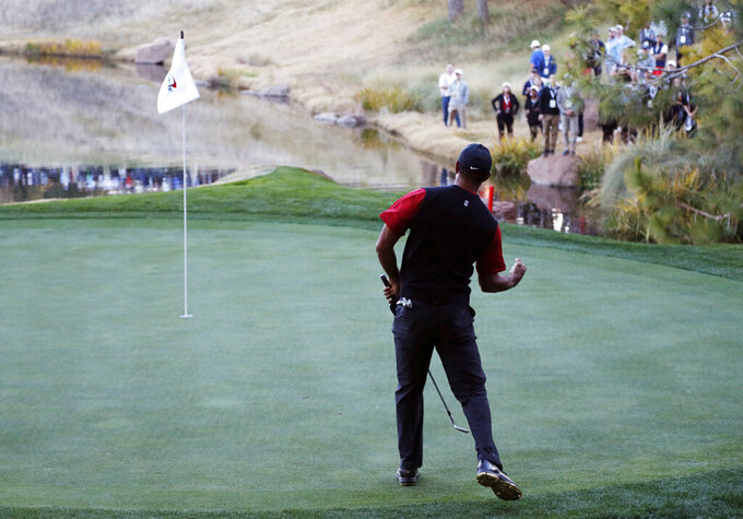 FILE - In this Nov. 23, 2018, file photo, Tiger Woods celebrates after making a chip into the 17th hole during a golf match against Phil Mickelson at Shadow Creek golf course in Las Vegas. Shadow Creek is back in the spotlight this week as it hosts the CJ Cup, typically played in South Korea.  (AP Photo/John Locher, File)