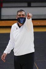 Villanova head coach Jay Wright calls out to his team during the second half of an NCAA college basketball game against St. John's Wednesday, Feb. 3, 2021, in New York. (AP Photo/Frank Franklin II)