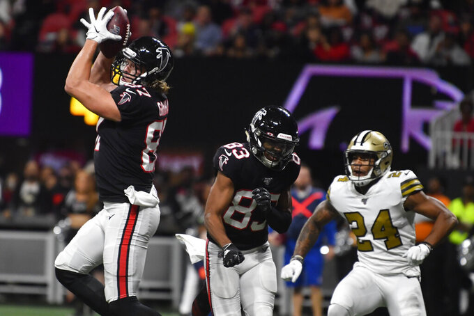 Atlanta Falcons tight end Jaeden Graham (87) makes a touchdown catch against the New Orleans Saints during the first half of an NFL football game, Thursday, Nov. 28, 2019, in Atlanta. (AP Photo/John Amis)