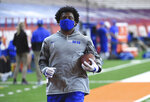 Duke wide receiver Jontavis Robertson (1)  warms up before an NCAA college football game against Syracuse on Saturday, Oct 10, 2020, at the Carrier Dome in Syracuse, N.Y. (Dennis Nett/The Post-Standard via AP)