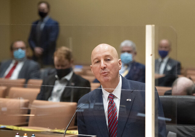 Nebraska Gov. Pete Ricketts speaks in support of LR22CA during a Revenue Committee hearing on Wednesday, Jan. 27, 2021, at the Capitol in Lincoln, Neb. (Gwyneth Roberts/Lincoln Journal Star via AP)