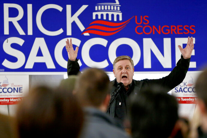 In this March 5, 2018, photo. Republican Rick Saccone, speaks at a campaign rally in Waynesburg, Pa. Saccone is running against Democrat Conor Lamb in a special election being held on March 13 for the PA 18th Congressional District vacated by Republican Tim Murphy. Fighting to stave off another special election embarrassment, the White House is strengthening its final-days offensive in western Pennsylvania. (AP Photo/Keith Srakocic)