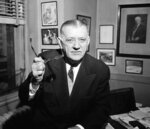 FILE - In this Feb. 13, 1957, file photo, NFL Commissioner Bert Bell gestures in his office in Philadelphia. His creation, the NFL draft, has become an industry unto itself and the league's third-most popular annual event behind the Super Bowl and opening weekend. (AP Photo/Warren M. Winterbottom, File)