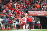 Kansas City Chiefs quarterback Patrick Mahomes (15) walks off the field after dislocating his knee in an NFL game against the Denver Broncos, Thursday, Oct. 17, 2019, in Denver. The Chiefs defeated the Broncos 30-6. (Margaret Bowles via AP)