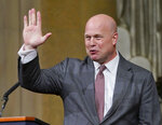 Acting Attorney General Matthew Whitaker gestures after speaking at the Dept. of Justice's Annual Veterans Appreciation Day Ceremony, Thursday, Nov. 15, 2018, at the Justice Department in Washington. (AP Photo/Pablo Martinez Monsivais)