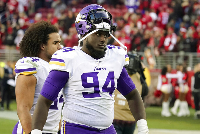 Minnesota Vikings defensive tackle Jaleel Johnson (94) walks off the field after an NFL divisional playoff football game against the San Francisco 49ers, Saturday, Jan. 11, 2020, in Santa Clara, Calif. The 49ers won 27-10. (AP Photo/Tony Avelar)