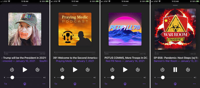 This combination of photos shows various podcasts, Friday, Jan. 15, 2021. Major social platforms have been cracking down on the spread of misinformation and conspiracy theories in the wake of the Jan. 6 riot at the Capitol. But Apple and Google, among others, have left open a major loophole: Podcasts. (AP Photo/David Hamilton)