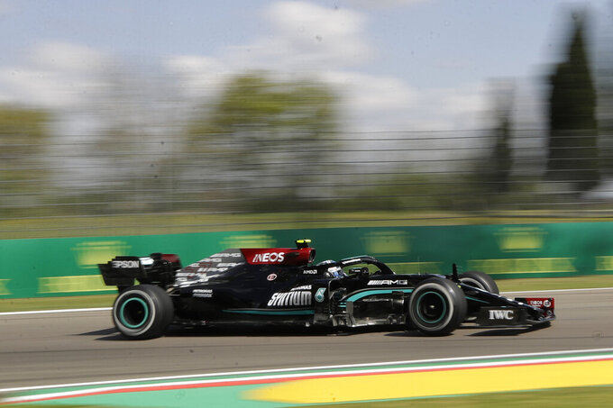 Mercedes driver Valtteri Bottas of Finland steers his car during free practice for Sunday's Emilia Romagna Formula One Grand Prix, at the Imola track, Italy, Friday, April 16, 2021. (AP Photo/Luca Bruno)
