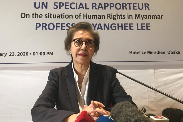 U.N. Special Rapporteur Yanghee Lee speaks during a press conference in Dhaka, Bangladesh, Thursday, Jan. 23, 2020. The top United Nations official who deals with human rights in Myanmar said Thursday that the international community must continue to put pressure on the Southeast Asian nation to follow any decision by the International Court of Justice regarding its treatment of minority Rohingya Muslims. (AP Photo/Al-emrun Garjon)