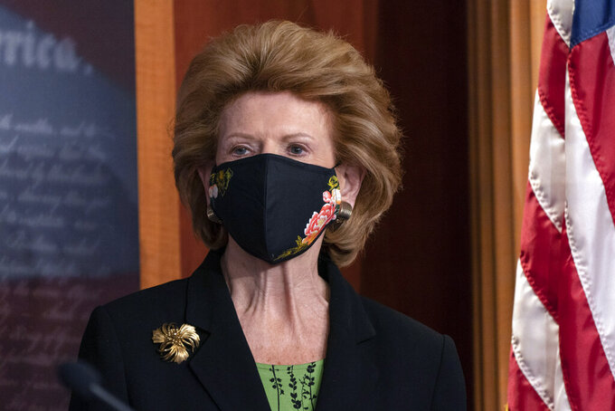 Debbie Stabenow, D-Mich., attends a news conference, Tuesday, March 2, 2021, on Capitol Hill in Washington. (AP Photo/Jacquelyn Martin)