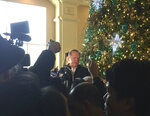 Baseball agent Scott Boras speaks to the media during the Major League Baseball winter meetings in Las Vegas, Wednesday, Dec. 12, 2018.  Boras represents star free agent Bryce Harper and many other big names in the game. (AP Photo/Ben Walker)