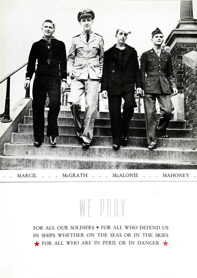 FILE - In this October 1943 file photo provided by Catholic Central High School, four classmates in military uniform walk down the stairs at Catholic Central High School in Troy, N.Y. From left are John Marcil, John McGrath, Howard McAlonie and Alfred Mahoney. World War II researcher Justin Taylan says airplane wreckage on the ocean floor near Okinawa is from the fighter-bomber flown by McGrath, who's still listed as missing in action. (Catholic Central High School via AP, FILE)
