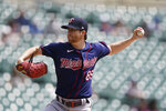 Minnesota Twins starting pitcher Charlie Barnes throws during the first inning of the first baseball game of a doubleheader against the Detroit Tigers, Saturday, July 17, 2021, in Detroit. (AP Photo/Carlos Osorio)