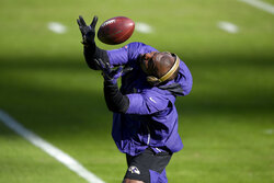 Baltimore Ravens wide receiver Dez Bryant works out prior to an NFL football game against the New York Giants, Sunday, Dec. 27, 2020, in Baltimore. (AP Photo/Nick Wass)