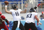 Old Dominion quarterback Blake LaRussa (11) drops back to pass against Florida Atlantic during an NCAA college football game Saturday, Oct. 6, 2018, in Boca Raton, Fla. (Jim Rassol/South Florida Sun-Sentinel via AP)