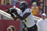 Arizona State wide receiver N'Keal Harry makes a touchdown catch against Southern California during the first half of an NCAA college football game Saturday, Oct. 27, 2018, in Los Angeles. (AP Photo/Marcio Jose Sanchez)