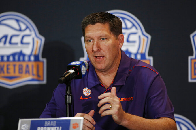Clemson coach Brad Brownell answers a question during the Atlantic Coast Conference NCAA college basketball media day in Charlotte, N.C., Tuesday, Oct. 8, 2019. (AP Photo/Nell Redmond)