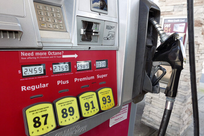 FILE - In this Sept. 17, 2019, file photo, a gas pump reflecting current prices is seen in Orlando, Fla. On Thursday, Feb. 13, 2020, the Labor Department releases Consumer Price Index for January. (AP Photo/John Raoux, File)