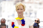 FILE - In this July 16, 2021 file photo Tilda Swinton poses for photographers at the photo call for the film 'Memoria' at the 74th international film festival, Cannes, southern France. (AP Photo/Brynn Anderson, File)