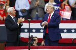 Vice President Mike Pence applauds President Donald Trump after Pence introduced him during a campaign rally Thursday, Oct. 10, 2019, in Minneapolis. (AP Photo/Jim Mone)
