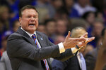 Kansas head coach Bill Self complains to an official during the first half of an NCAA college basketball game against Texas Tech in Lawrence, Kan., Saturday, Feb. 1, 2020. (AP Photo/Orlin Wagner)