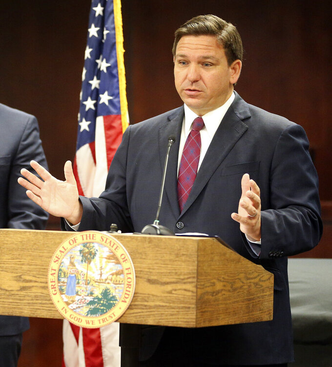 Florida Governor Ron DeSantis speaks about Florida job opportunities during a visit to DeFuniak Springs, Fla., Thursday, Sept. 9, 2021, to announce $500,000 in grants for Walton County. (Michael Snyder/Northwest Florida Daily News via AP)