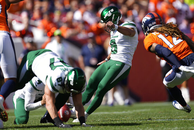 New York Jets kicker Matt Ammendola unsuccessfully attempts a field goal during the first half of an NFL football game against the Denver Broncos, Sunday, Sept. 26, 2021, in Denver. (AP Photo/David Zalubowski)