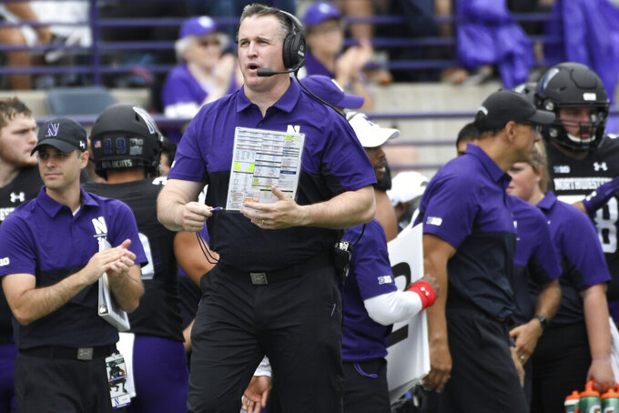 Northwestern head coach Pat Fitzgerald on the sidelines during the first half of an NCAA college football game against Michigan State , Saturday, Sept. 21, 2019, in Evanston, Ill. (AP Photo/David Banks)