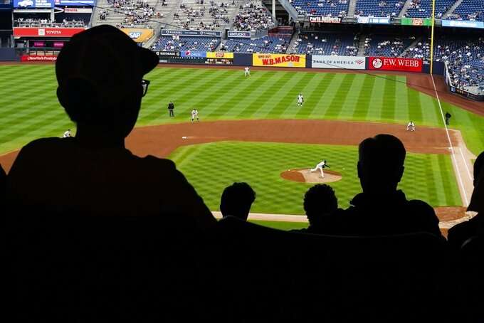 Fans watch during the third inning of a baseball game between the New York Yankees and the Tampa Bay Rays at Yankee Stadium on Tuesday, June 1, 2021, in New York. (AP Photo/Frank Franklin II)