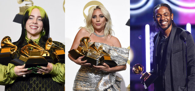 This combination photo shows, Billie Eilish holding her awards at the 62nd annual Grammy Awards on  Jan. 26, 2020, from left, Lady Gaga holding her awards at the 61st annual Grammy Awards on Feb. 10, 2019 and Kendrick Lamar accepting the award for best rap album for