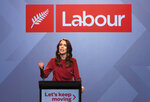 New Zealand Prime Minister Jacinda Ardern gestures as she gives her victory speech to Labour Party members at an event in Auckland, New Zealand, Saturday, Oct. 17, 2020. (AP Photo/Mark Baker)